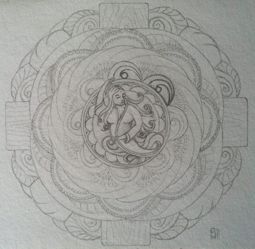 Skizze in Bleistift beim Aufbau des Mandalas