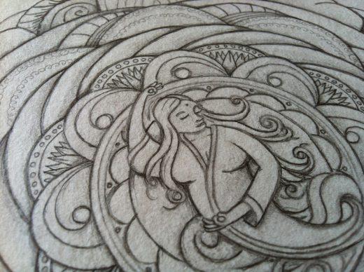 Detail der fertigen Schwarz-Weiss-Zeichnung des Mandalas