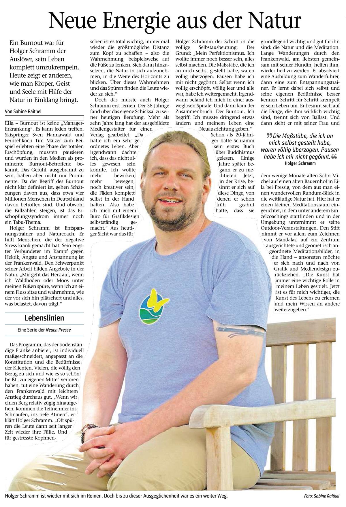 Neue Energie aus der Natur - Artikel in der Neuen Presse Kronach, 28.06.2016