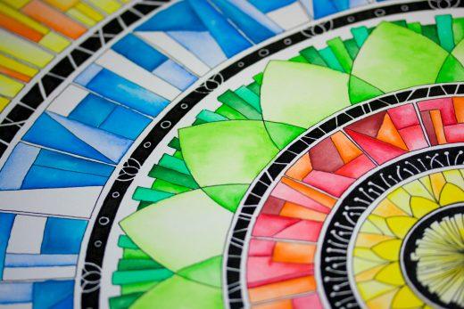 Sonnengesang - Mandala in Aquarell von Holger Schramm