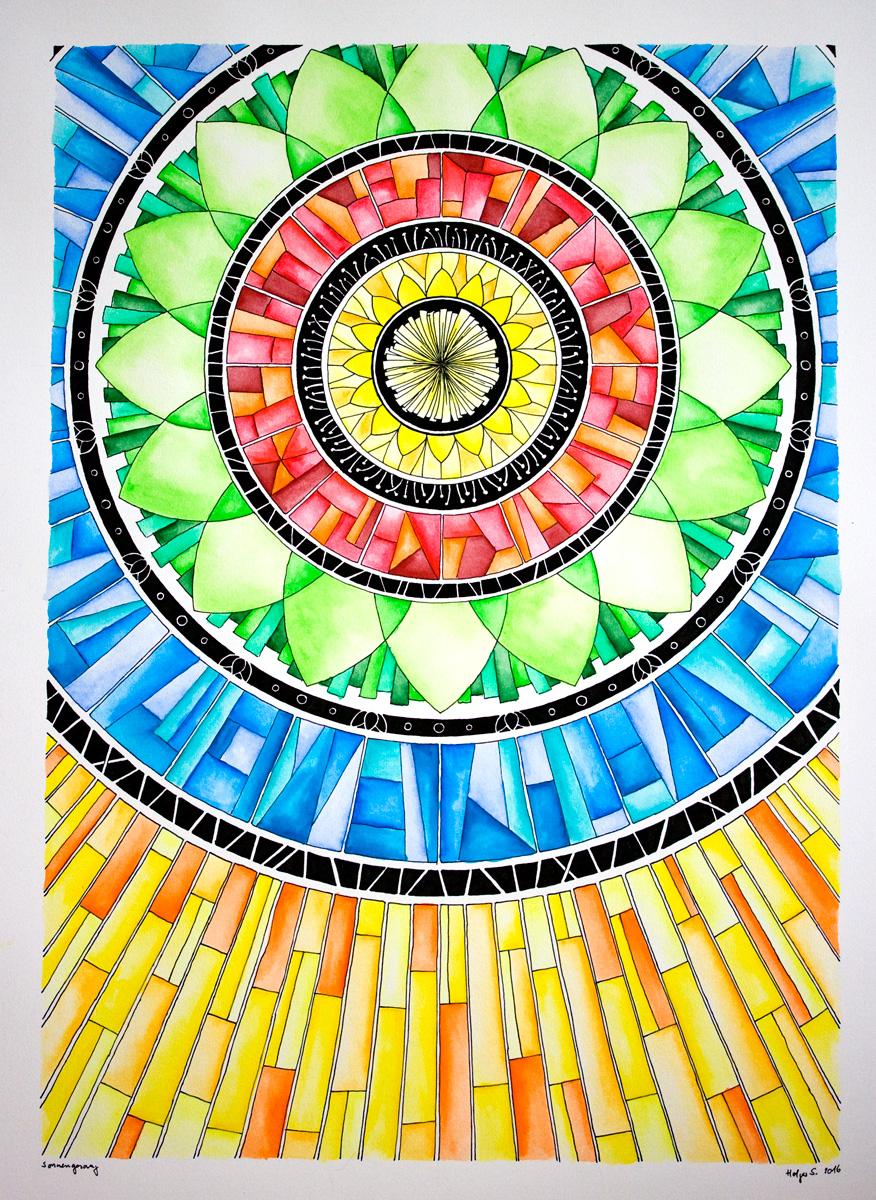 Mandala Sonnengesang - Tusche und Aquarell von Holger Schramm